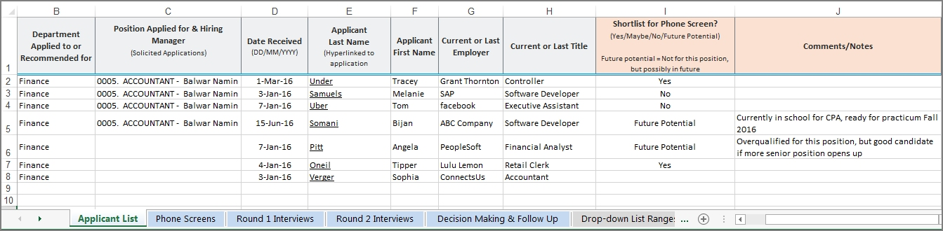Click to view full sized image of Candidate Tracking Spreadsheet Template